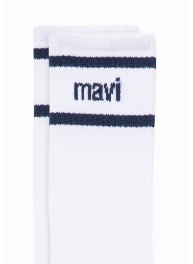 Mavi Mavi Logo Baskılı Soket Çorap Beyaz